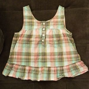Gap army light green pink plaid top